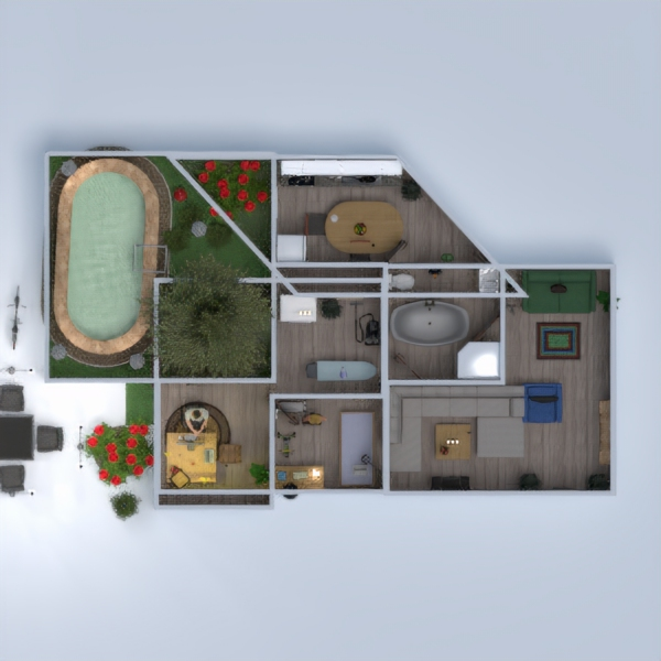 floorplans bathroom bedroom living room kitchen outdoor 3d