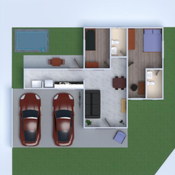 floorplans casa varanda inferior decoração garagem área externa 3d