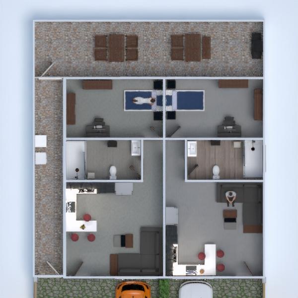 планировки квартира терраса спальня гараж кухня 3d