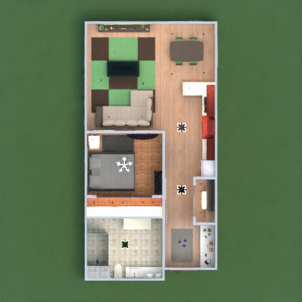 floorplans appartement meubles décoration salle de bains chambre à coucher salon cuisine eclairage maison salle à manger 3d
