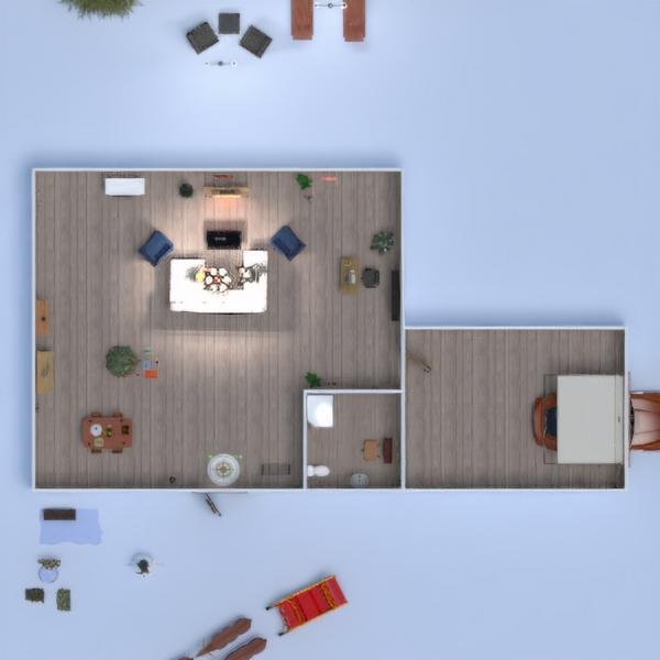floorplans maison meubles chambre à coucher cuisine salle à manger 3d