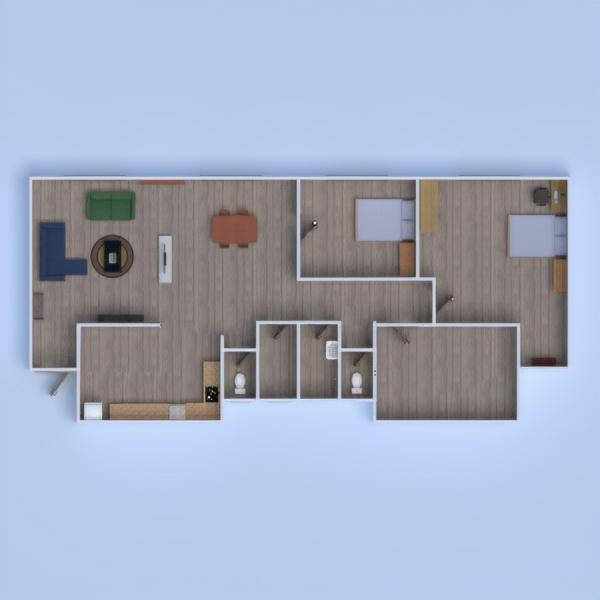 floorplans appartement chambre à coucher salon maison salle à manger 3d