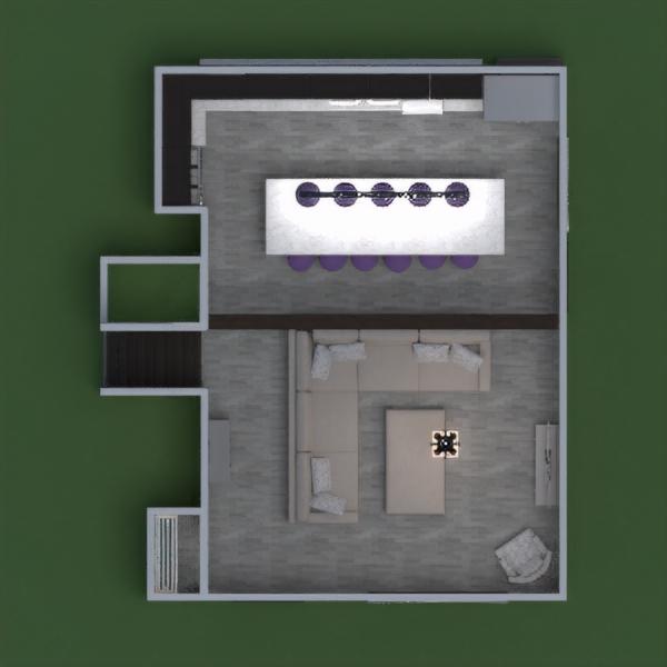 floorplans quarto cozinha utensílios domésticos patamar 3d