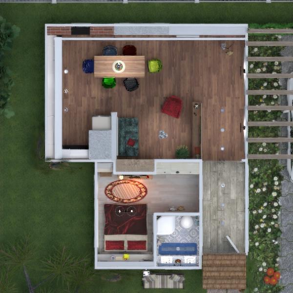 floorplans maison terrasse meubles salle de bains chambre à coucher salon garage cuisine eclairage salle à manger architecture 3d