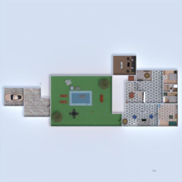 floorplans mobílias casa de banho dormitório quarto área externa 3d