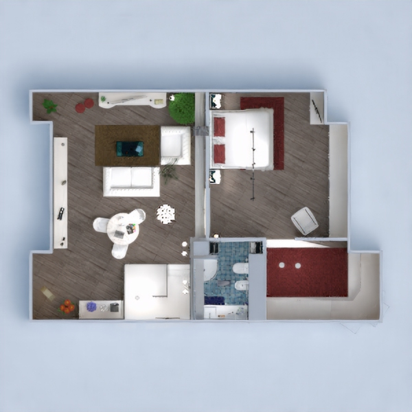 floorplans apartment house furniture bedroom entryway 3d