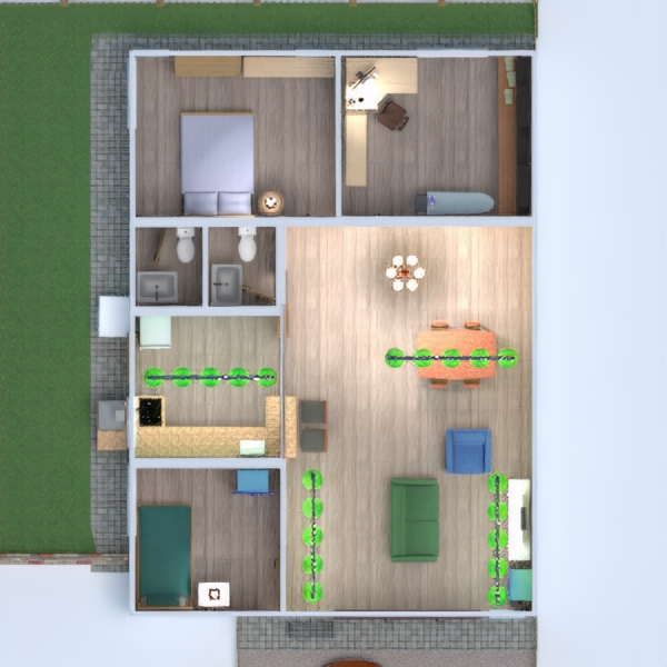 floorplans namas svetainė virtuvė apšvietimas valgomasis 3d