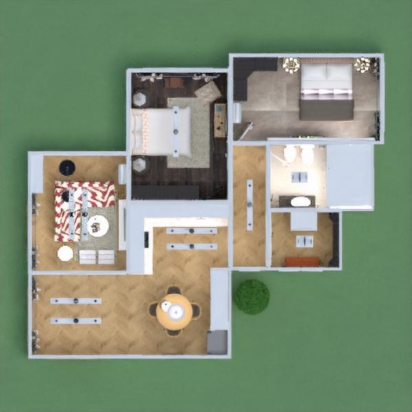 floorplans maison décoration chambre à coucher cuisine eclairage espace de rangement 3d