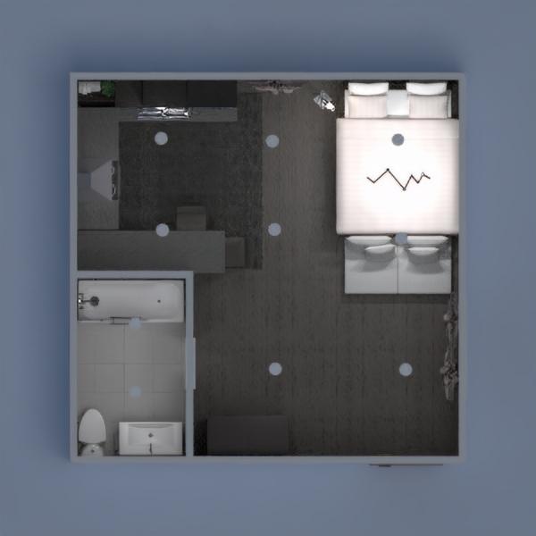floorplans appartement salle de bains chambre à coucher cuisine salle à manger 3d