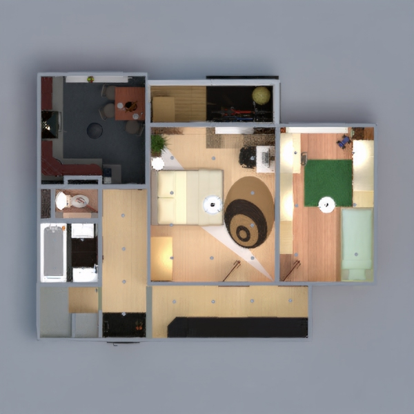 floorplans furniture bedroom kitchen household dining room 3d