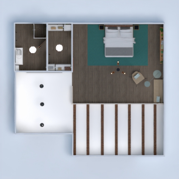 floorplans butas baldai dekoras vonia miegamasis svetainė virtuvė apšvietimas studija 3d