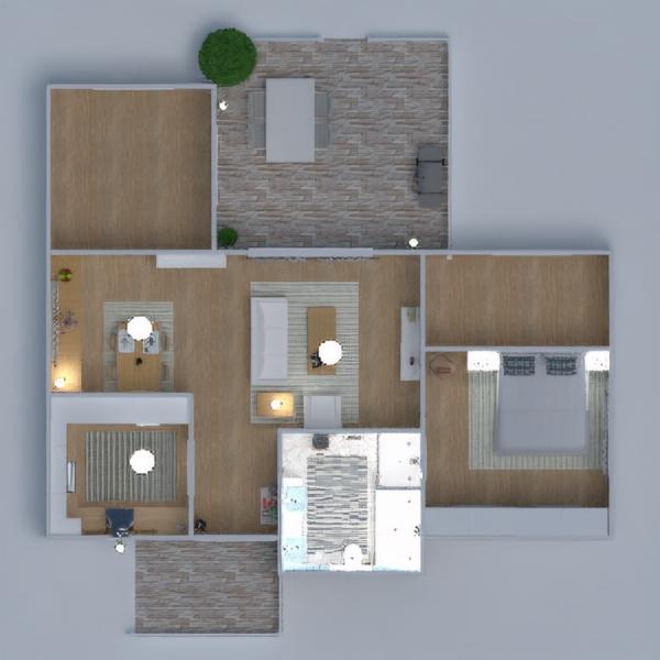 планировки дом терраса ванная спальня столовая 3d