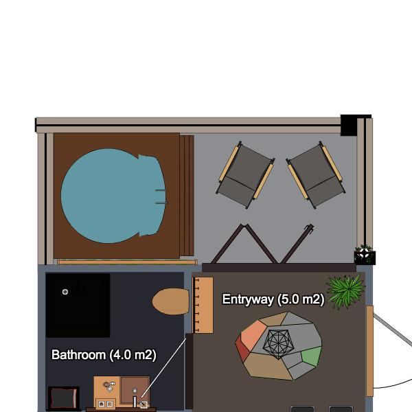 floorplans appartamento bagno camera da letto cucina monolocale 3d