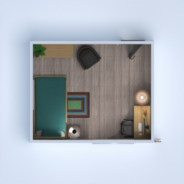 floorplans baldai miegamasis vaikų kambarys biuras 3d