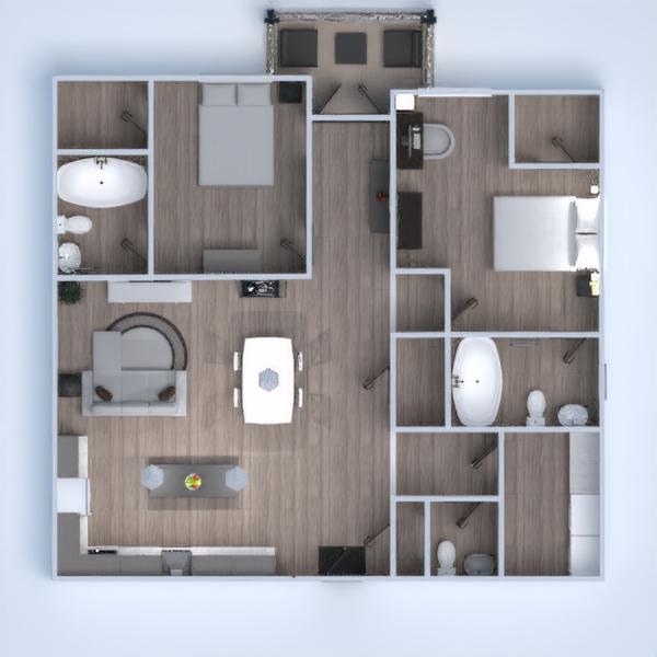 floorplans butas terasa dekoras miegamasis virtuvė 3d