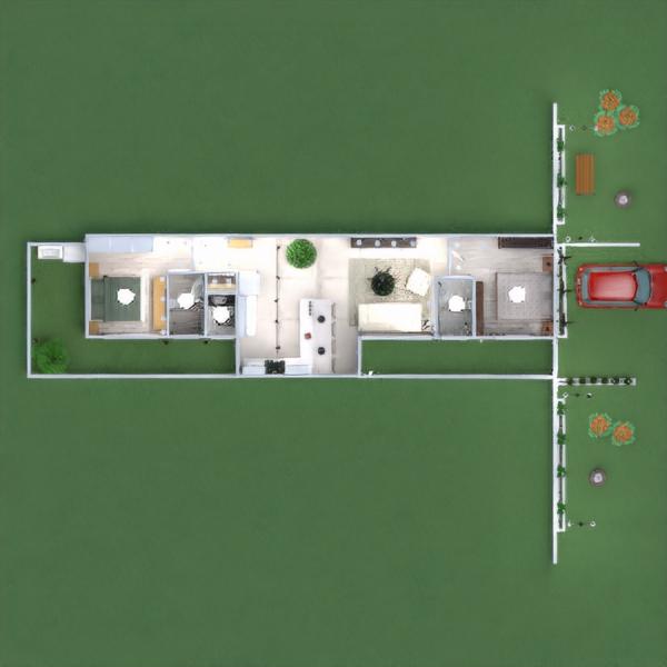 floorplans dom meble sypialnia na zewnątrz oświetlenie architektura 3d