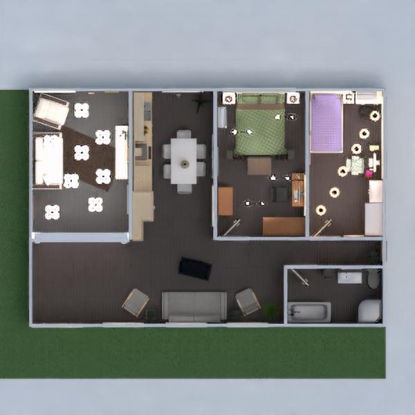 floorplans namas baldai vonia svetainė virtuvė 3d