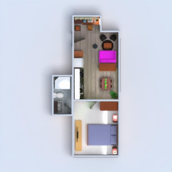 floorplans butas baldai dekoras vonia miegamasis svetainė virtuvė valgomasis studija 3d