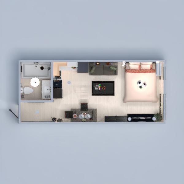 floorplans mieszkanie wystrój wnętrz sypialnia pokój dzienny kuchnia oświetlenie jadalnia mieszkanie typu studio 3d