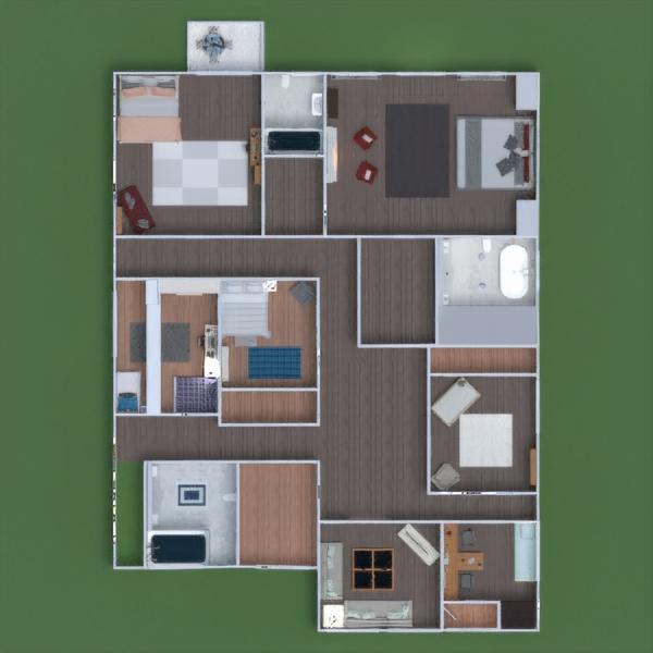 floorplans bathroom living room kitchen outdoor landscape dining room 3d