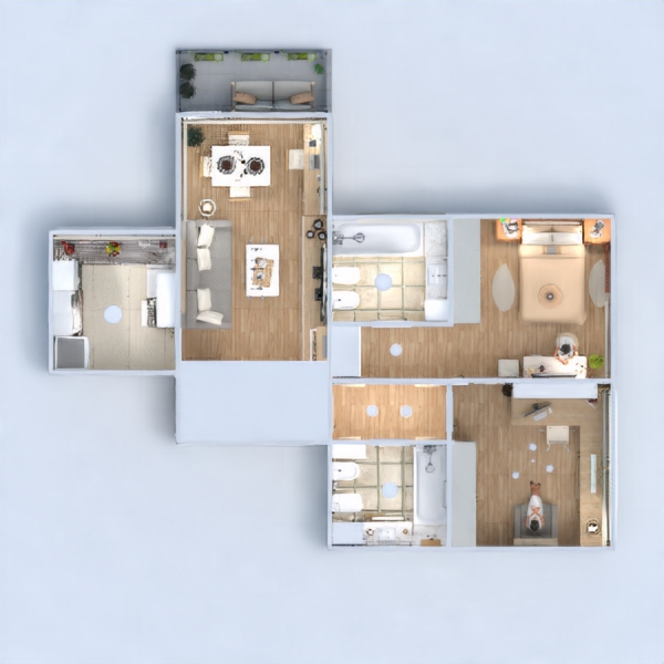 floorplans butas baldai dekoras svetainė apšvietimas 3d