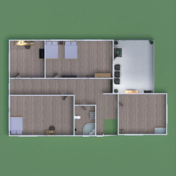 floorplans namas baldai vonia miegamasis svetainė 3d