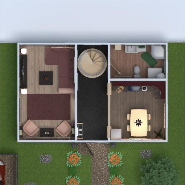 floorplans namas terasa baldai dekoras vonia miegamasis svetainė virtuvė 3d