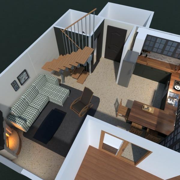 planos casa terraza muebles salón cocina 3d