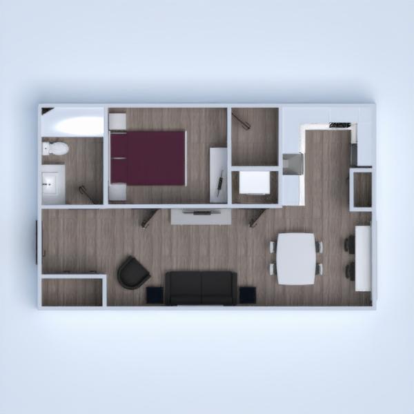 floorplans appartamento bagno camera da letto architettura monolocale 3d