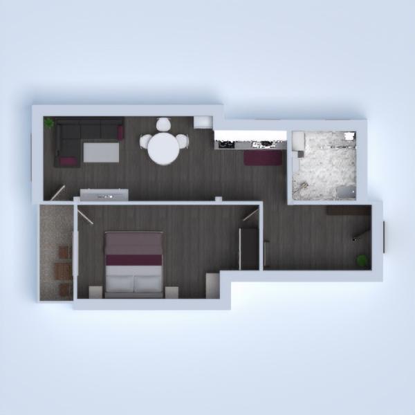 floorplans appartement terrasse salle de bains chambre à coucher entrée 3d