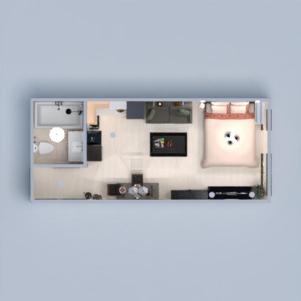 floorplans mieszkanie wystrój wnętrz sypialnia oświetlenie jadalnia mieszkanie typu studio 3d