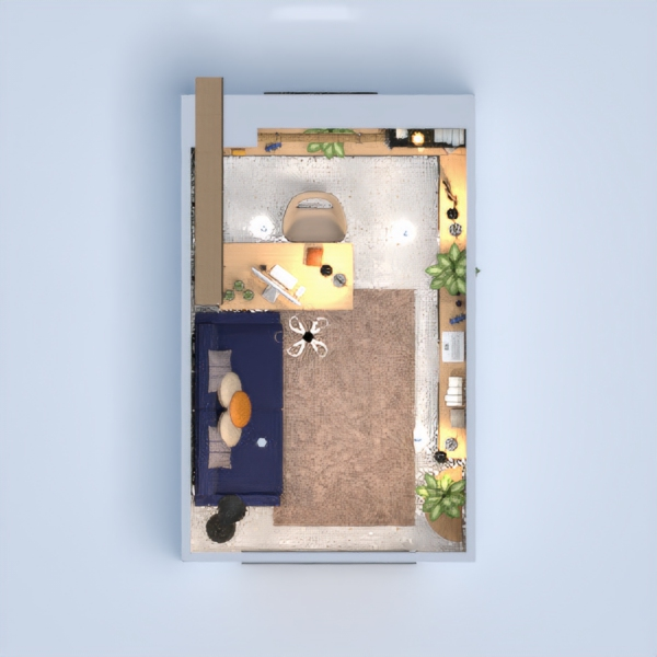 planos casa muebles decoración despacho iluminación 3d