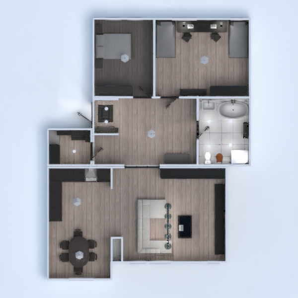 floorplans apartment furniture decor bathroom bedroom living room kitchen entryway 3d