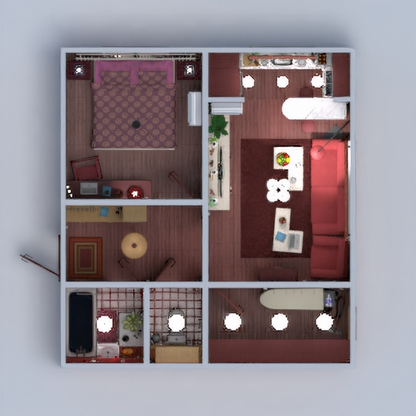 floorplans apartamento muebles decoración cuarto de baño dormitorio salón cocina reforma descansillo 3d