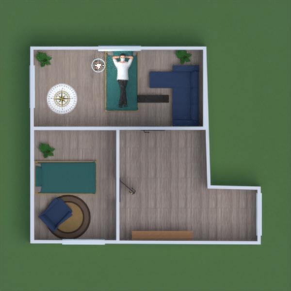floorplans namas baldai miegamasis svetainė garažas 3d