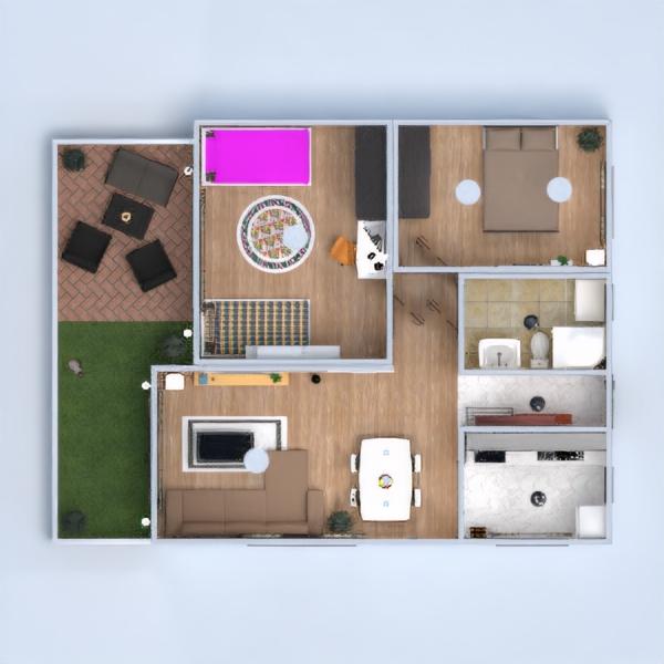 floorplans butas terasa vonia miegamasis svetainė virtuvė vaikų kambarys 3d