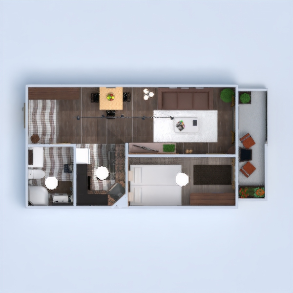 floorplans apartment terrace furniture bathroom bedroom living room kitchen lighting dining room 3d