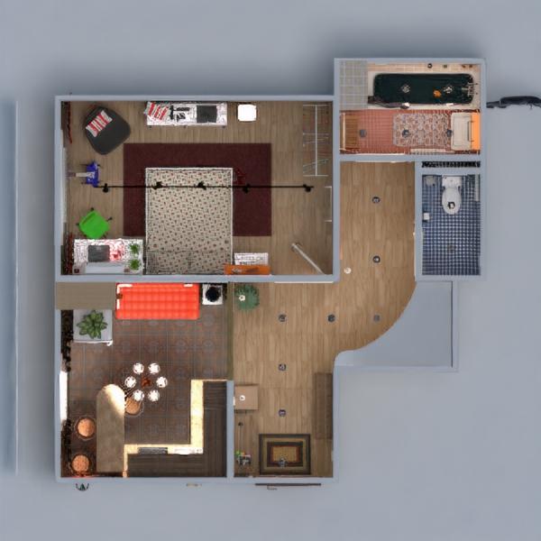 floorplans wohnung dekor badezimmer schlafzimmer wohnzimmer küche lagerraum, abstellraum eingang 3d
