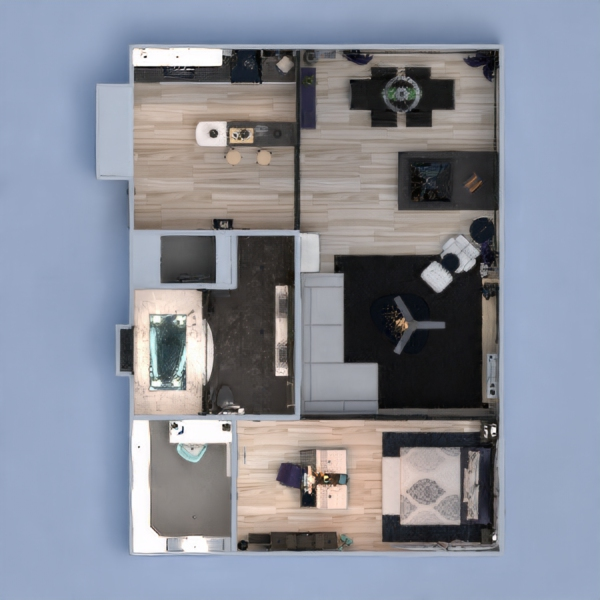 floorplans apartamento muebles decoración salón cocina arquitectura trastero 3d