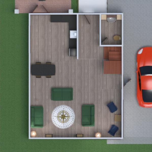 планировки дом терраса гараж кухня хранение 3d