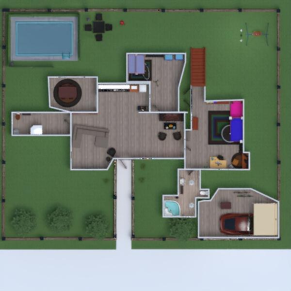 floorplans casa salón cocina habitación infantil paisaje 3d