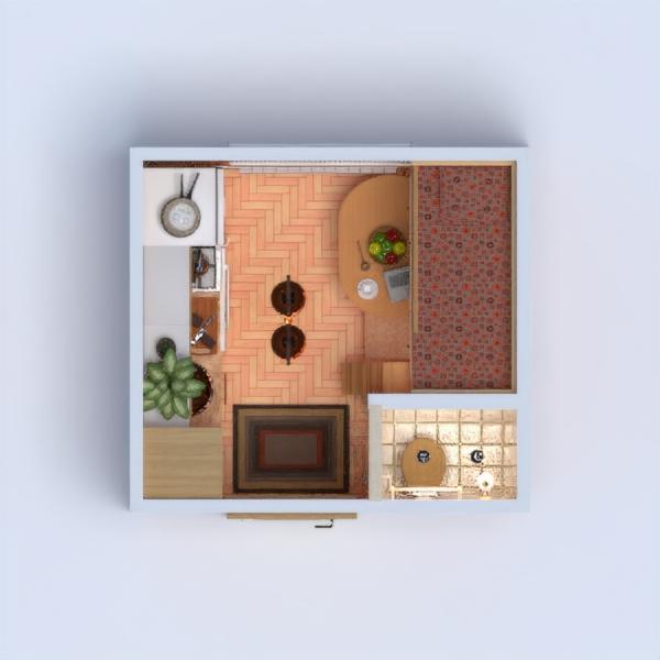 floorplans sypialnia pokój dzienny kuchnia przechowywanie mieszkanie typu studio 3d