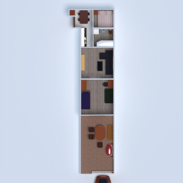 floorplans apartamento mobílias dormitório quarto cozinha 3d