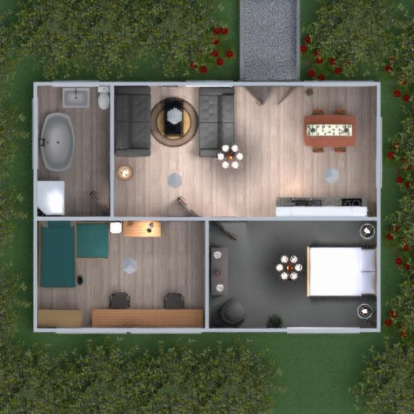 floorplans łazienka sypialnia pokój dzienny kuchnia 3d