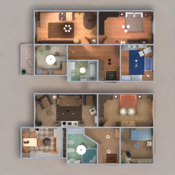 floorplans wohnung mobiliar do-it-yourself badezimmer schlafzimmer wohnzimmer küche kinderzimmer lagerraum, abstellraum eingang 3d
