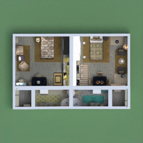 floorplans appartement décoration cuisine salle à manger 3d