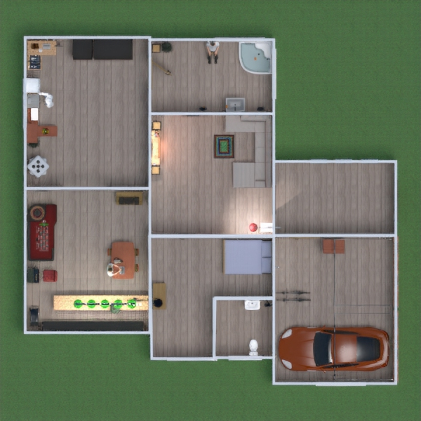 floorplans meubles garage cuisine maison salle à manger 3d