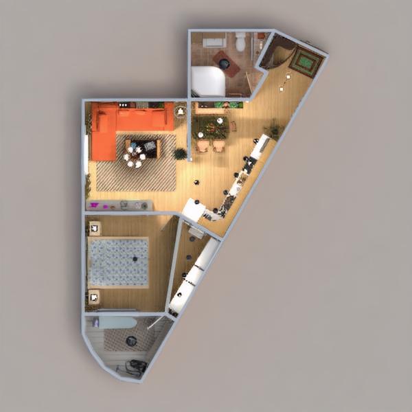 floorplans mieszkanie meble łazienka sypialnia pokój dzienny kuchnia oświetlenie remont przechowywanie wejście 3d