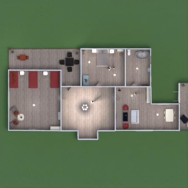 floorplans namas miegamasis svetainė vaikų kambarys valgomasis 3d