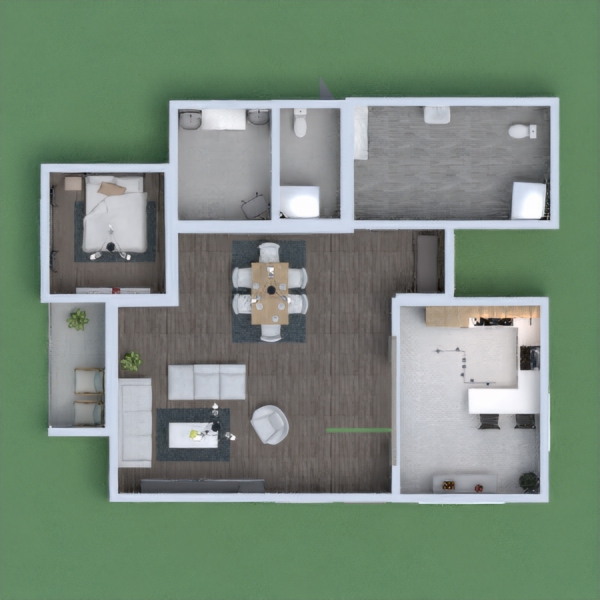 floorplans casa dormitorio salón cocina exterior 3d